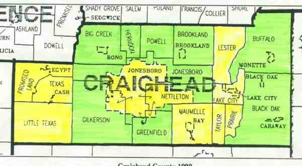 craighead county Craighead county is located in northeast arkansas and was created as arkansas's fifty-eighth county in 1859 it is unusual not only in the circumstances of its.